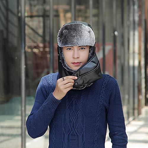 Mafyu Trapper hoed voor mannen en vrouwen, winter muts leer bomber met masker, skiën/rijden en andere outdoor-activiteiten one_size D