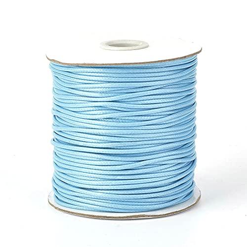 Fashewelry 200 yardas Coreano encerado de poliéster Cords Light Sky Blue cuerda de cuerda con carrete 0.5mm para hacer joyas Macramé suministros