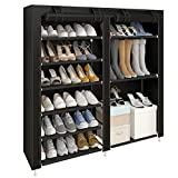 UDEAR Shoe Rack Portable Free Standing Shoe Organizer, 27 Pairs Portable Double Row,Place Shoes,Boots,Shoe Boxs,with Dustproof Cover,Black