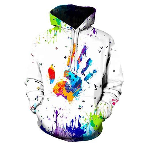 HerrenSommerT-Shirt Rundhals-Ausschnitt Fashion Freizeit 3D Druck Weich Streetwear Witzig Gedruckt Kurze Ärmel Rundhalsausschnitt (S,Weiß)