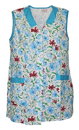 Bata corta 7/8, diseño de flores, sin mangas, algodón, multicolor Modelo 2 42