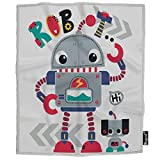 Mugod Robot Blanket Cute Adorable Cartoon Robot Waving with Robotic Dog Friend Fuzzy Soft Cozy Warm Flannel Throw Blankets Decorative for Boys Girls Toddler Baby Dog Cat 40X50 Inch