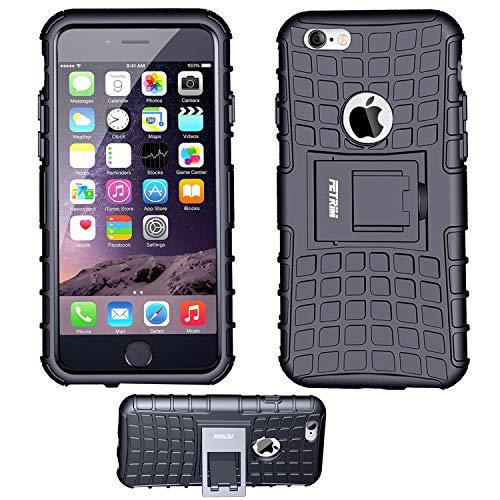 iPhone 6S Coque,iPhone 6 Coque, Fetrim Armor Support Protection Étui,Anti Chocs Bumper Étui Hybride Protection Housse Cover pour Apple iPhone 6 6S (Noir)