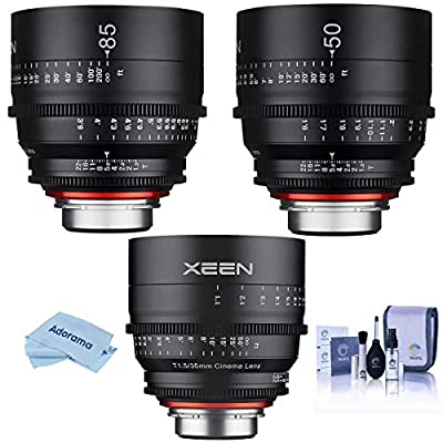 Rokinon 3 Lens Kit Includes - Xeen 35mm T1.5 Cine Lens for PL Mount - Xeen 50mm T1.5 Cine Lens for PL Mount - Xeen 85mm T1.5 Cine Lens for PL Mount, Cleaning Kit, Microfiber Cloth by Rokinon