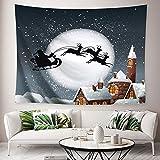 Jorisa - Tapiz de Navidad para colgar en la pared, diseño de copos de nieve, decoración de pared para sala de estar, dormitorio, dormitorio, fiesta, telón de fondo de 200 x 150 cm