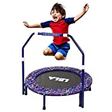 "36"" Kids Mini Trampoline with Adjustable Handle and Safety Padded Cover,Foldable Rebounder Trampoline"