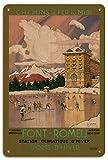 Pacifica Island Art Font-Romeu - Sur de Francia - Ferrocarriles del Midi - Póster Viajes de Tony George Roux c.1923 - Letrero de Madera 20x30cm