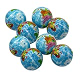 Dazzling Toys Globe Stress Balls 12 Pack 3' Inch Earth Squeezable Relief Activity Balls Set of 12 Therapeutic Great for Party Favors