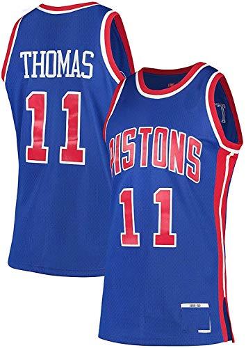WHYYT NBA Men's Jerseys - Detroit Pistons # 11 Isiah Thomas Basketball Jersey, Chaleco sin Mangas Transpirable Bordado,M(170~175CM/65~75KG)