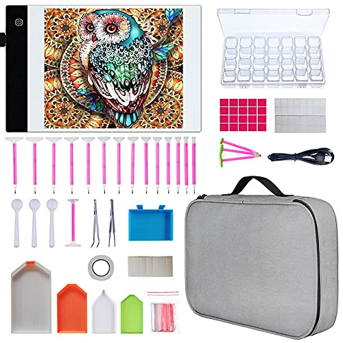 Mesa de Luz Dibujo A4,HNSHAG LED Pad para pintura diamante 124 piezas de diamantes de bricolaje Herramientas de pintura y kits de accesorios,mesa de luz para artistas Dibujo Sketching Animación Diseño