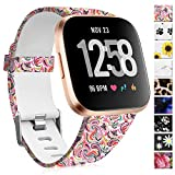Maledan Compatible with Fitbit Versa 2 Bands, Soft Silicone Printed Band Accessories Replacement for Versa/Versa 2/Versa Lite SE Women Men, Large, Magic Cloud