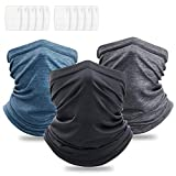 OMDEX 3Pcs Neck Gaiter with Filter, UPF 50 Face Cover - UV Sun Protection Warmer Windproof Gaiter Sun Bandanas Breathable Scarf for Women & Men & Kids Outdoor Sports