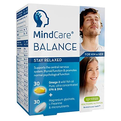 MindCare BALANCE sollievo stress - olio di pesce omega-3, magnesio, L-Teanina e multivitaminici per il supporto del sistema nervoso; aiuta a rilassarsi, 60 capsule