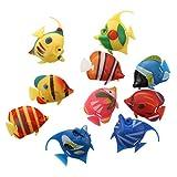 SODIAL(R) 10X Schwimmende Kuenstlich Deko Fisch Ornament Dekoration fuer Aquarium Fish Tank