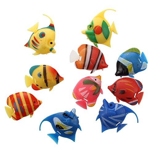 Sonline 10X Schwimmende Kuenstlich Deko Fisch Ornament Dekoration fuer Aquarium Fish Tank