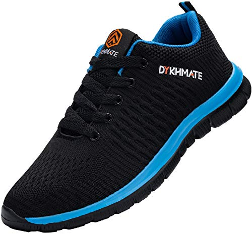 DYKHMATE Uomo Scarpe da Ginnastica Sportive Sneakers Running Donna Basket Sport Outdoor Fitness Respirabile Scarpe da Corsa (Nero Blu,42 EU)