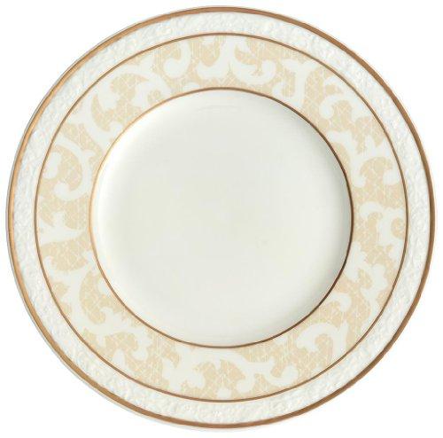Villeroy & Boch Ivoire Brotteller, kleiner Speiseteller mit Goldrändern und Ornamenten aus Premium Bone Porzellan, spülmaschinenfest, 180 mm