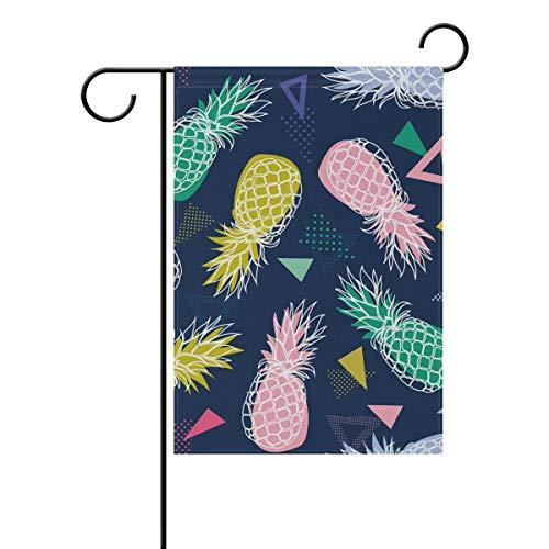 MyDaily coloré géométrique Ananas décoratifs Double Face Jardin Drapeau 12 x 45,7 x 71,1 x 101,6 cm, Polyester, Multicolore, 12 x 18 inch