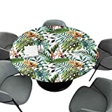 Elastic Edged Painting Table Cloths, Banana Palm Tree Leaves, 63 Inch Round Spill Proof Table Covers for Kitchen Party
