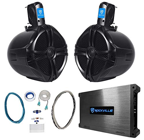 "(2) Rockville RWB80B 8"" Black 600w Marine Wakeboard Tower Speakers+Amplifier+Kit"