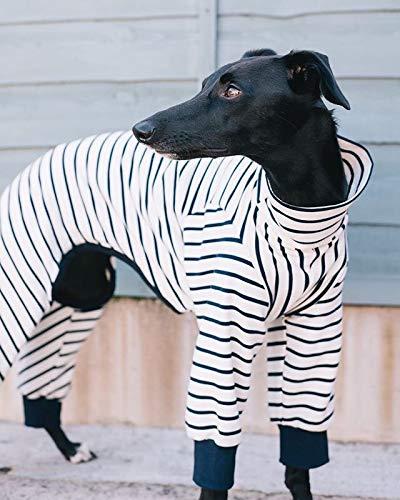 The Trendy Whippet Pijama Blanco y Azul Marino con diseño