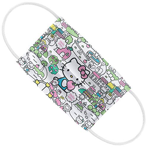 Hello Kitty Kids Pastel Teal Pattern 1-Ply Reusable Face Mask Covering with Adjustable Nose Wire