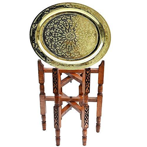 Lorient Orientalischer Teetisch Lucy Messing Tablett Zedernholz Gestell Ø 40 cm für Ihre Wohnzimmer | Antik Vintage Marokkanischer Beistelltisch Tisch Sofatisch 100% traditionelle Handarbeit