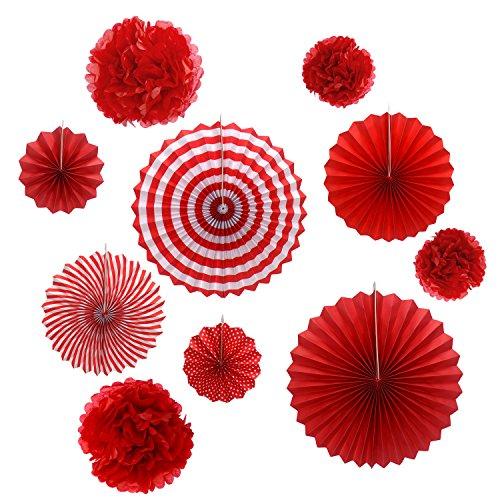 Gardeningwill Lot de 10 rosettes en papier rouge à suspendre pour décoration de fête d'anniversaire ou de mariage
