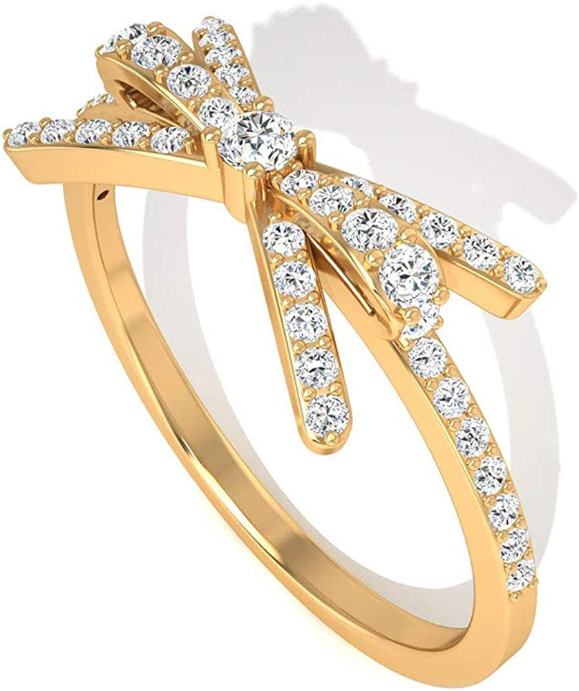 Art Deco 0.28 CT IGI Certified Diamond Engagement Ring, Solid 14k Gold Bow Bridal Wedding Ring Set, Minimal Stackable Anniversary Promise Ring for Her