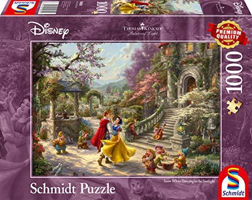 Schmidt Spiele 59625 Thomas Kinkade, Disney, Schneewittchen-Tanz mit dem Prinzen, 1000 Teile Puzzle, Bunt