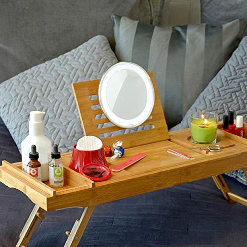 Premium badkuip Caddy, laptop-bureau en bedplank met uittrekbare armen en verstelbare poten, bevat twee spa-tablets, tablet- / boek- / wijnglas- / kaarsen- / telefoonhouder, bamboe