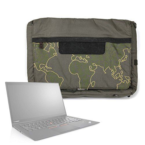 DURAGADGET Bolso con Bandolera Verde con Mapamundi para Portátil Lenovo ThinkPad X1 Carbon/LG gram 15' / Samsung Notebook 9 Pro 2017 - con Múltiples Bolsillos