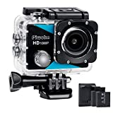 Piwoka Action Caméra Sport 1080P, Camera Waterproof étanche Ultra HD 12MP Etanche 40M, Grand Angle...