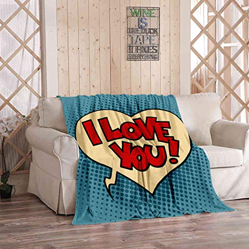 Kuidf Modern Throw Blanket Comic Bubble Heart Love You Pop Art Retro Style Flannel Bedding Blankets Luxury Oversized for Couch Bed or Sofa 50x60 Inches