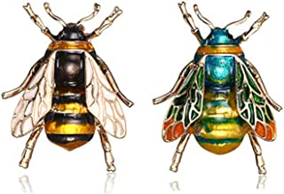 UOROMINE Bee Brooch Pins Enamel Cryatal Insect Animal Brooches Themed Lapel Pin Corsages Scarf Clips for Women Men Girls 2...
