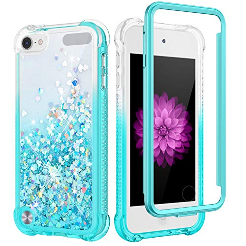 Caka iPod Touch 5 6 7 Case, iPod Touch 7th Generation Glitter Case Built in Screen Protector Bling Liquid Sparkle Fashion Girly Girls Women Flowing Cushion Case for iPod Touch 5 6 7 (Gradient Teal)