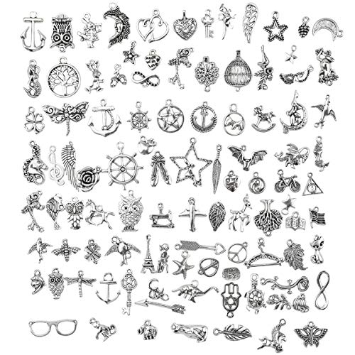 HQdeal Charms for Jewelry Making, 100pcs Mixed Antique Silver Charms Pendants, Silver-Plated Charms for Bracelets Necklace Keyring Earring Charms DIY Handmade Accessories Crafts