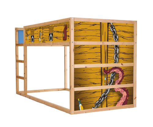 STIKKIPIX Priratenschiff Möbelfolie selbstklebend/Aufkleber - IM11 - passend für das Kinderzimmer Hochbett KURA von IKEA - Möbel Nicht Inklusive