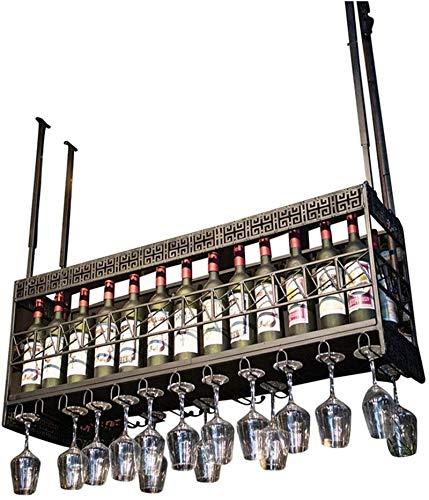 Elegante Botellero, Colgando Vino Titular de techo Bastidores de vino con el titular de la Copa Industrial Estilo Barra de Butler vino Dispensador de altura ajustable for la cocina / bar / restaurante
