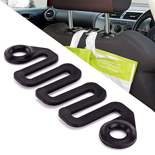 HANGERWORLD golfvormige kunststof haken voor autostoelhoofdsteunen zwart