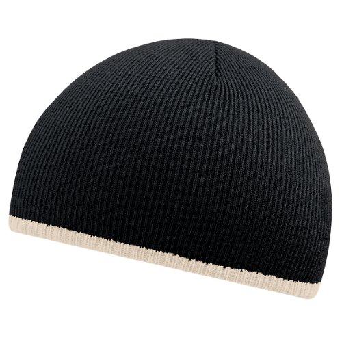 Beechfield - Bonnet bicolore - Adulte unisexe (Taille unique) (Noir/Pierre)