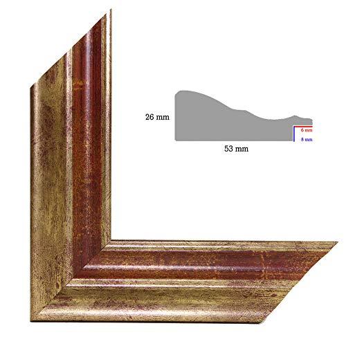 OLIMP-24 Bilderrahmen 33x95 cm Echtholz Barock in Farbe Gold Bordeaux mit Rot