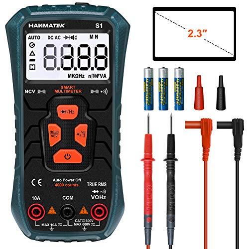 Multimetro Automatico, HANMATEK S1 Multimetro Digitale Avanzato TRMS con 4000 Punti, Misura AC DC Current Voltage Resistance Frequenza Diodi NCV ecc., Display Retroilluminato