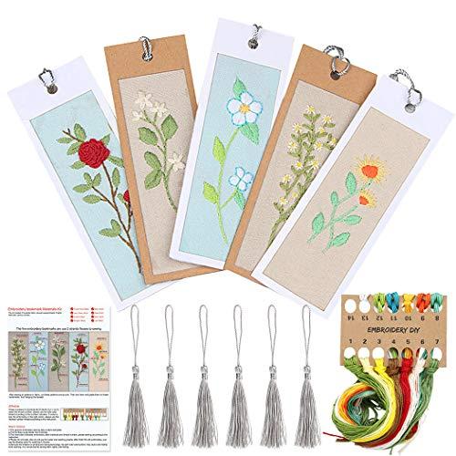 Outgeek 5PCS Embroidery Kit Creative Handmade DIY Bookmark Cross Stitch Kit for Beginners-Handmade Needlepoint Kits Embroidery Starter Kit for Adults Kids