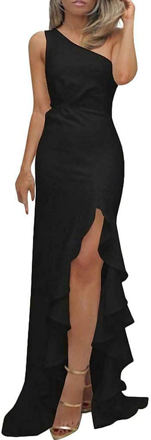 Women Limited Special Price Ruffle One Shoulder Evening All items free shipping Split Body Cocktail Party Club