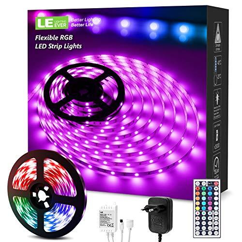 LE Striscia LED RGB, 5M Strisce LED 20 Colori 6 Modalità Dimmerabili, Controller e 44 Tasti Telecomando IR Inclusi, 12V 1.5A, Striscia Luminosa Multicolore per Decorazioni Casa, Bar, Festa
