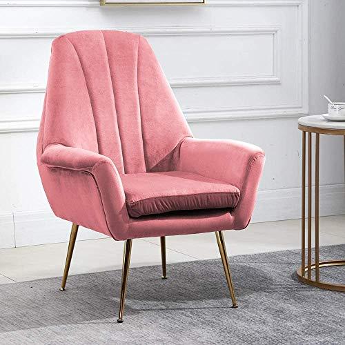 Velvet-Tankstuhl mit Metallbeinen mit fächerförmigen Sesseln für Schlafzimmer, Bürolounges,Pink