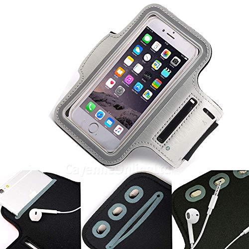 DOT. Universal Handy Halter Schweiß Resistant Laufschuhe Sport Trainieren Fitnessstudio Armband für Oppo Reno oder Jedes Display zwischen 5.2-5.8 Zoll - Schlüsselhalter - Verstellbarer Gurt - grau