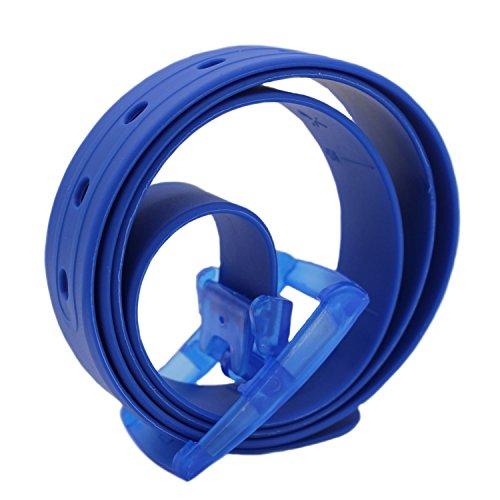 MESHIKAIER Bonbon Couleur Fashion Ceinture Unisexe en Silicone avec Boucle Plastique (Blau fondé)