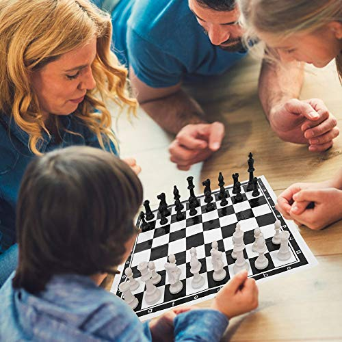 Alomejor International Chess Plastic Chess Set Internationales Schach-Unterhaltungsspiel Schachspiel mit faltbarem Schachbrett für Travel International-Brettspiele
